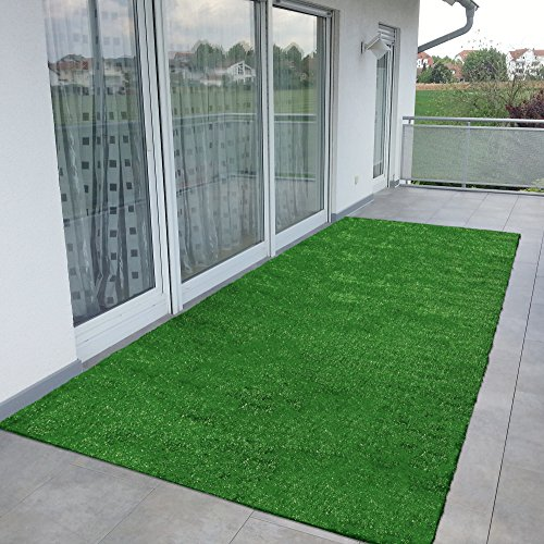 (Ottomanson Evergreen Collection Indoor/Outdoor Green Artificial Grass Turf Solid Design Runner Rug, 2'7