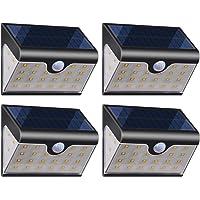 Lámparas Solares【Versión Avanzada 4 Piezas】28 LED Luces Solares Exterior 270° 2000mAh Luz Solar con Sensor de Movimiento…