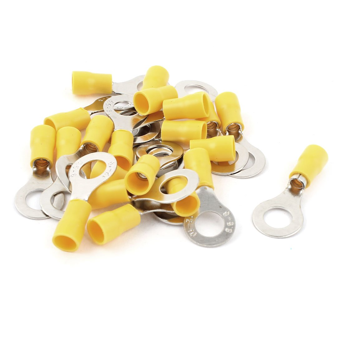Sourcingmap 20 Pcs RV5.5-8 Yellow Pre Insulated Ring Terminals for AWG 12-10 Wire a14121700ux0683