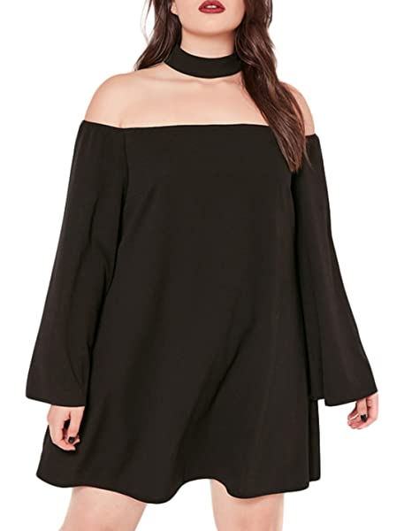 c1a3897092ae Hodoyi Women Off Shoulder Halter Long Sleeves Straight Chiffon Mini Dress (US14