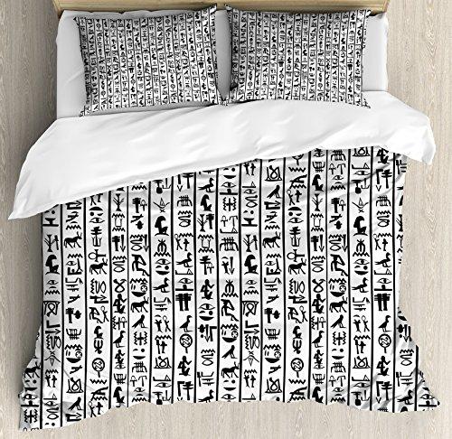 Ambesonne Egyptian Duvet Cover Set Queen Size, Vertical Borders with Hieroglyphics Alphabet Ancient Language Symbols Cultural, Decorative 3 Piece Bedding Set with 2 Pillow Shams, Black White