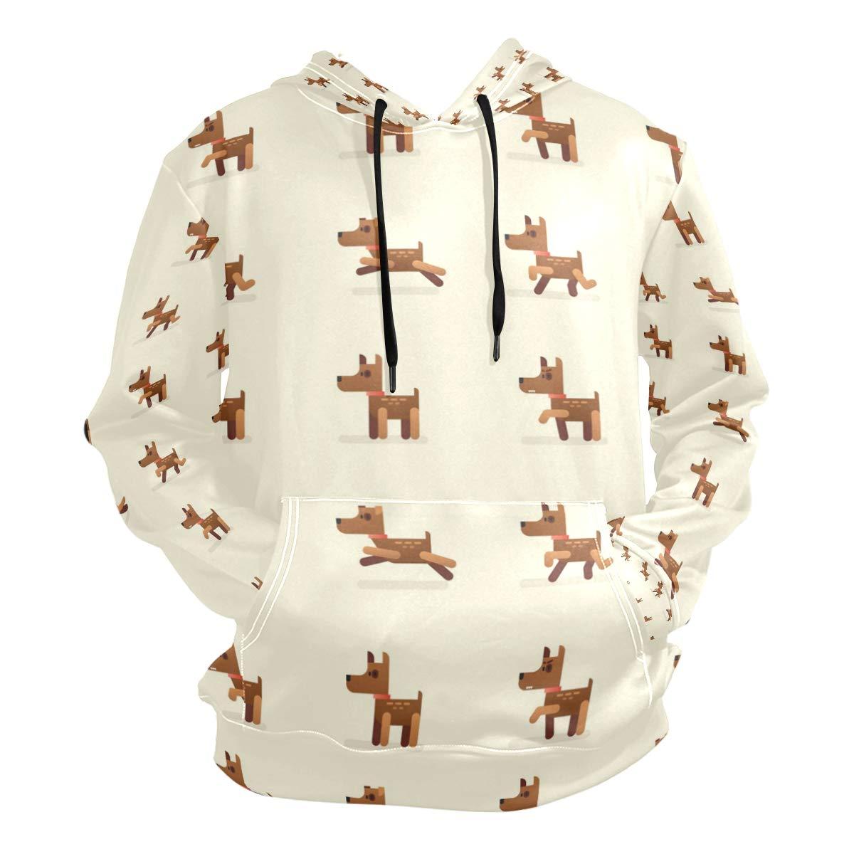 Charlley Lee Mens Hooded Sweatshirt Funny Little Dog Fashion Hoodie