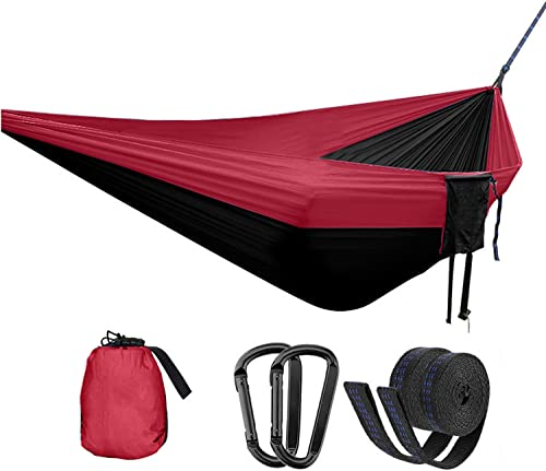 OUTDOOR WIND Double Camping Hammock Portable Indoor Outdoor Tree Hammock with 2 Hanging Straps,Lightweight Nylon Parachute Hammocks for Backpacking Travel Red Black