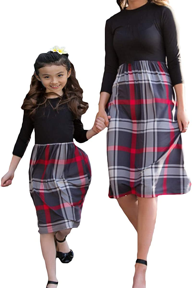 Mother and Daughter Family Matching Plaid Dress Tartan Long Sleeve High Waist Dress Mommy and Me Outfit