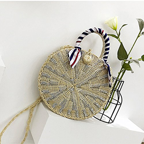 Handbags Straw Line Silver Shoulder Round Leegoal Weave Body Bag Zipper with Straw Bag Cross Bag R8qxRAw6