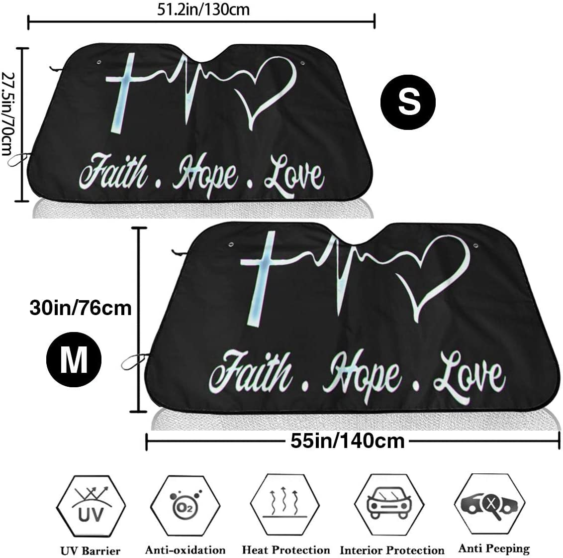 WUZZZZ Faith Hope Love Car Windshield Cover Sun Shade Summer Sun Protector Ice Removal Windshield Protector Snow Protection Cover Fits Most of Car