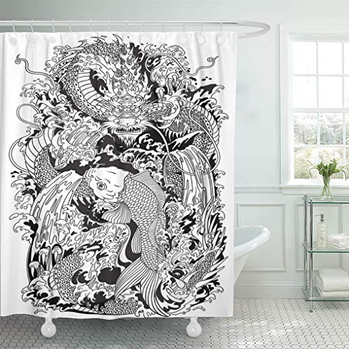 Emvency Shower Curtain Asian Dragon and Koi Carp Fish Which is Trying to Reach The Top of Waterfall Black and White Tattoo Shower Curtains Sets with Hooks 72 x 78 Inches Waterproof Polyester Fabric ()