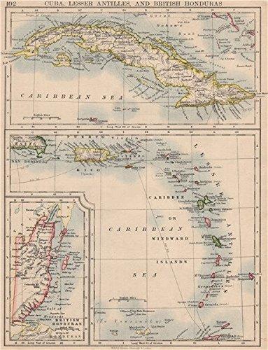 Amazoncom CARIBBEAN ISLANDS Cuba British Honduras Caribbee - Vintage map of cuba