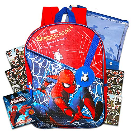 "Marvel Spiderman Backpack for Boys (16"" Backpack) Bundle with Stickers"