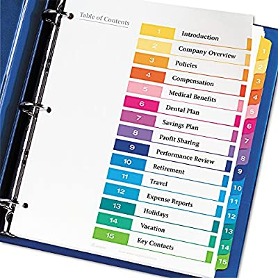 Avery Ready Index Table of Contents Dividers, 15-Tab Set