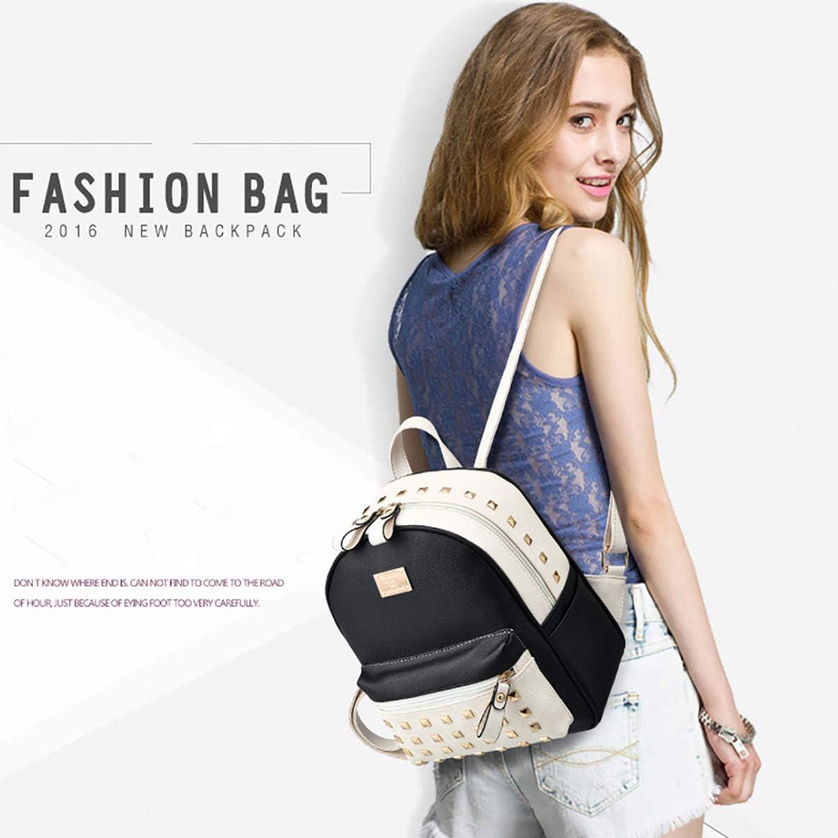 Nicole/&Doris HombroLos nuevos bolsos de escuela Mochila los bolsos de las mujeres del recorrido del bolso de la taleguilla metal del cuero de la PU