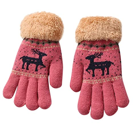 Webla Gants en Tricot pour Enfants de 8-13 Ans Gants Motif Cerf de Noël de  Dessin Animé Épaissir Chauds D hiver Filles Garçons Mitaines Chaudes Gants  ... f1c9968b52b