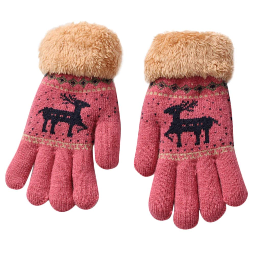 HEETEY Toddler Baby Cute Thicken Christmas Fawn Girls Boys Of Warm Gloves Winter Knit Gloves Unisex Accessorize Christmas Gifts For 8-13Years Children