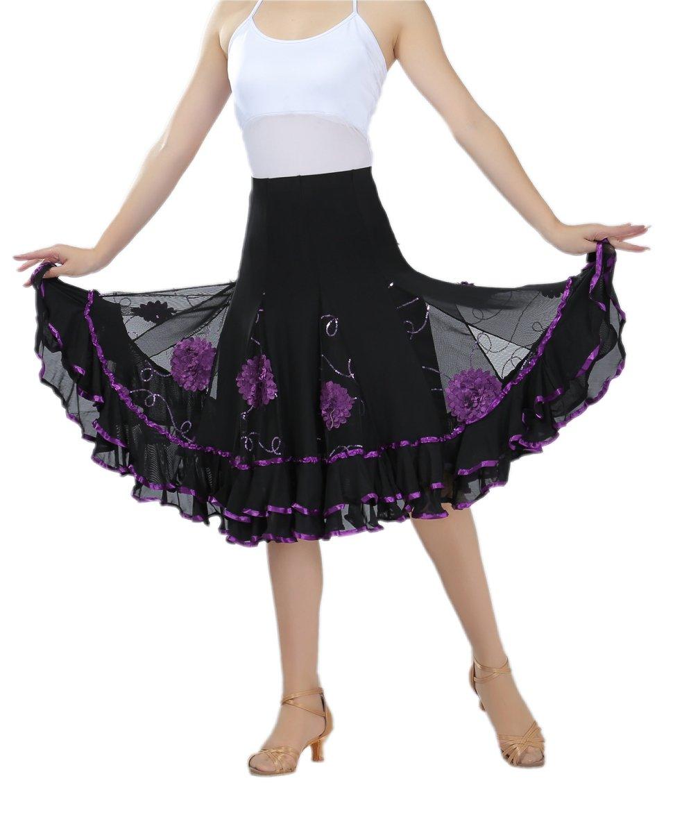 CISMARK Ballroom Dancing Latin Dance Tango Swing Skirt for Women 003Purple One Size by CISMARK
