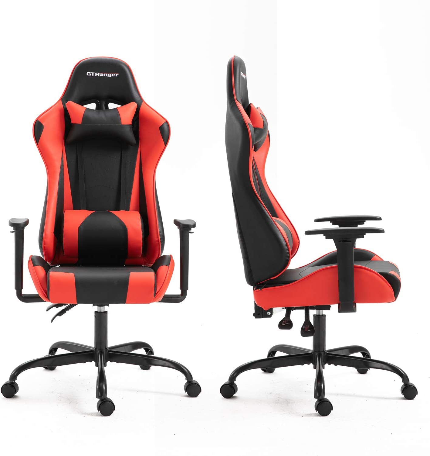 GTRanger Gaming Chair Racing Style High Back Computer Gaming Chair Adjustable Recliner Leather Office Desk Chair with Headrest and Lumbar Support Black Red