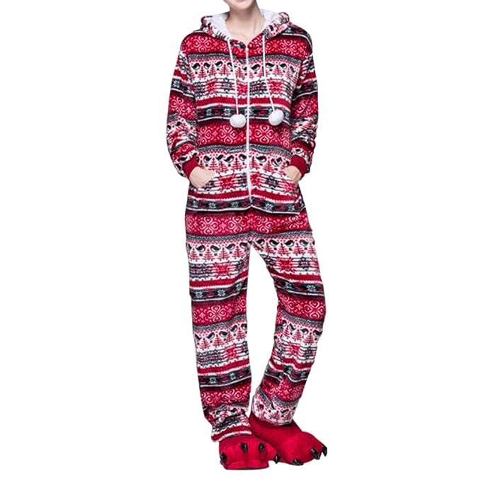 Xinvision Mujer Encapuchado Ropa de dormir Adult Onesie Pijama Franela Jumpsuit Sleepwear Costume Muchacha Una pieza