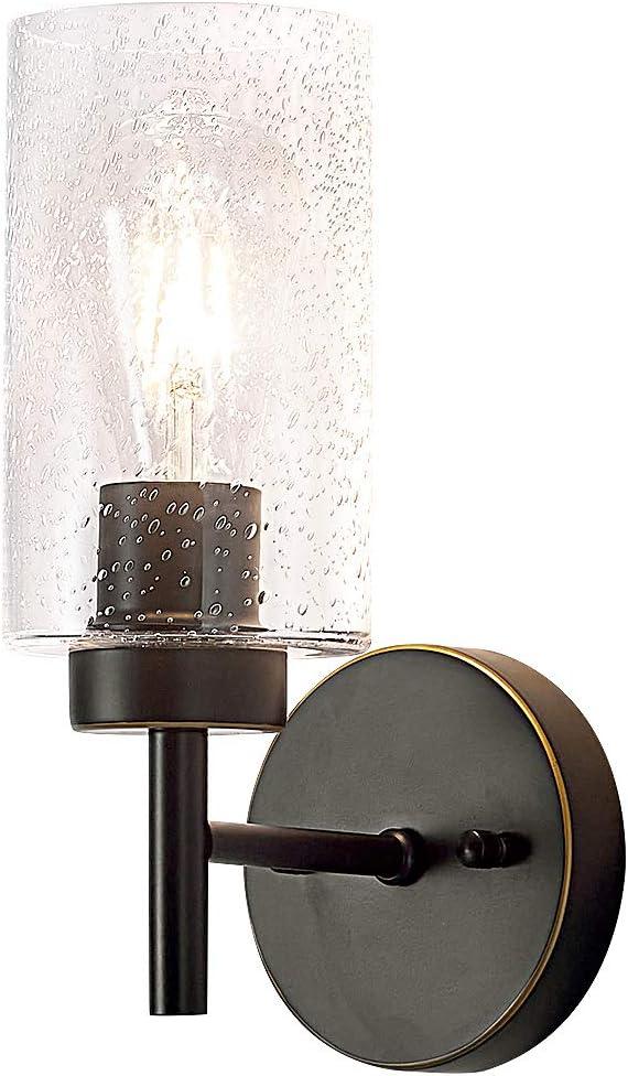 Wall Sconce Light Bathroom Vanity Wall Lighting, Black Metal Industrial Seedy Glass Wall Lamp,Mounted Light Fixture for Home Decor Bathroom Bedroom Hallway