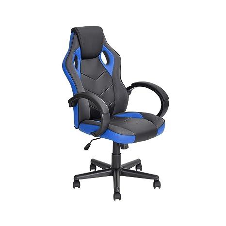 BAKAJI Silla Gaming Sillón de Oficina direccional Ruedas giratoria de acción Racer Azul direccional Office B-N