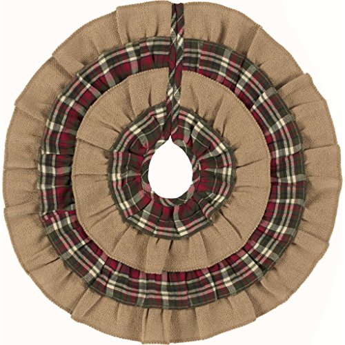 VHC Brands Burlap and Plaid Ruffled Mini Tree Skirt 21 inches