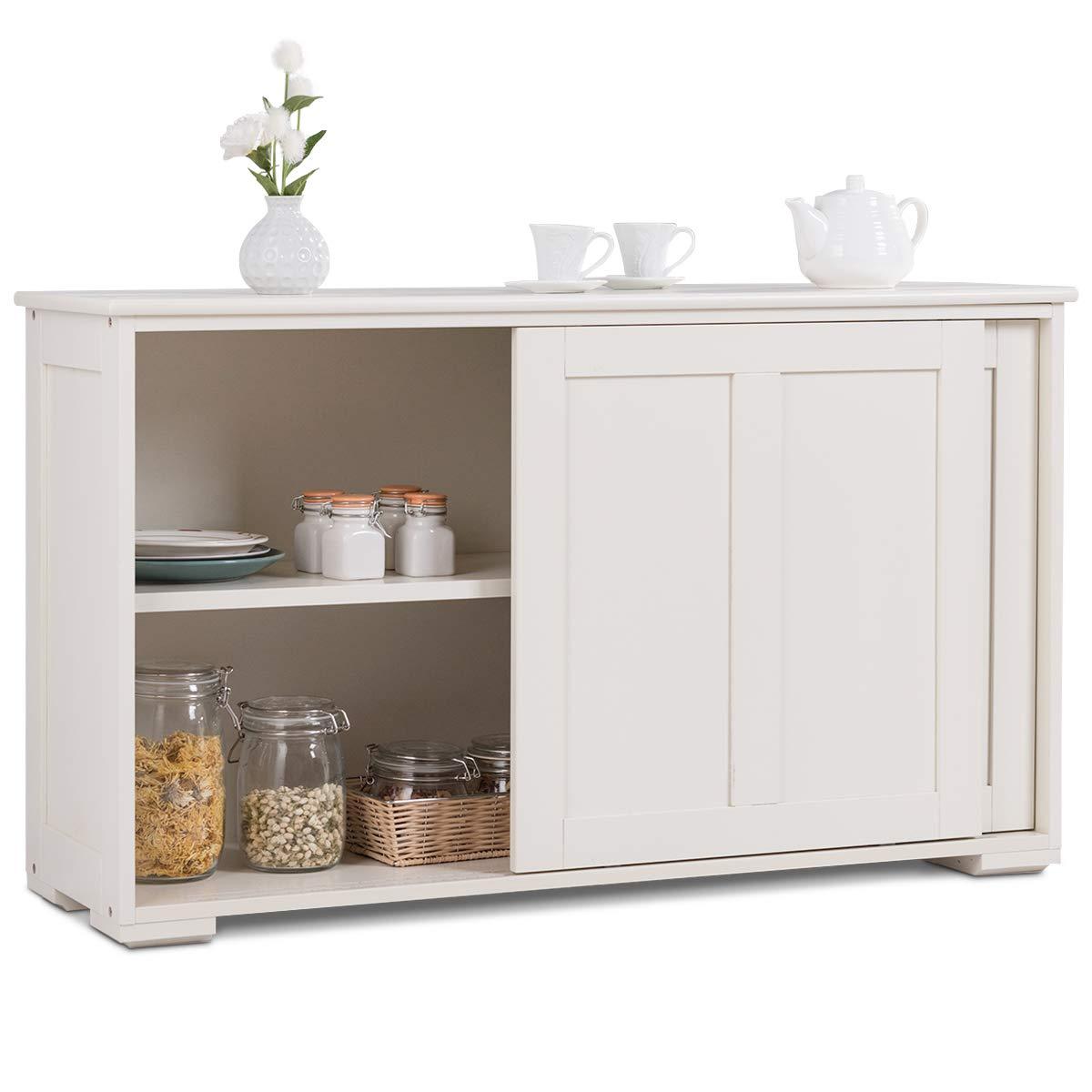 COSTWAY Armadietto da Cucina Mobiletto per Cucina Composto da Due Porte Scorrevoli Dimensioni Marrone//Bianco 106,7 x 33 x 62,5 cm Colore Disponibile Bianco