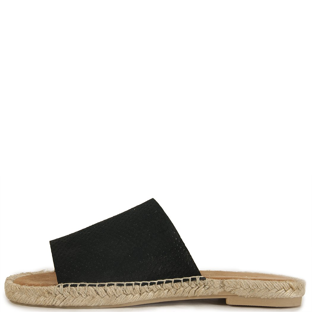 Amazon.com | 275 Central - Mali PF -Perforated Suede Espadrille Slide Black | Shoes