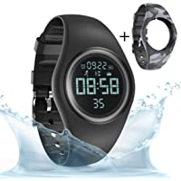 synwee Sports Fitness Tracker Watch, IP68 Waterproof, Non-Bluetooth, with Pedometer/Vibration Alarm Clock/Timer,for Kid…