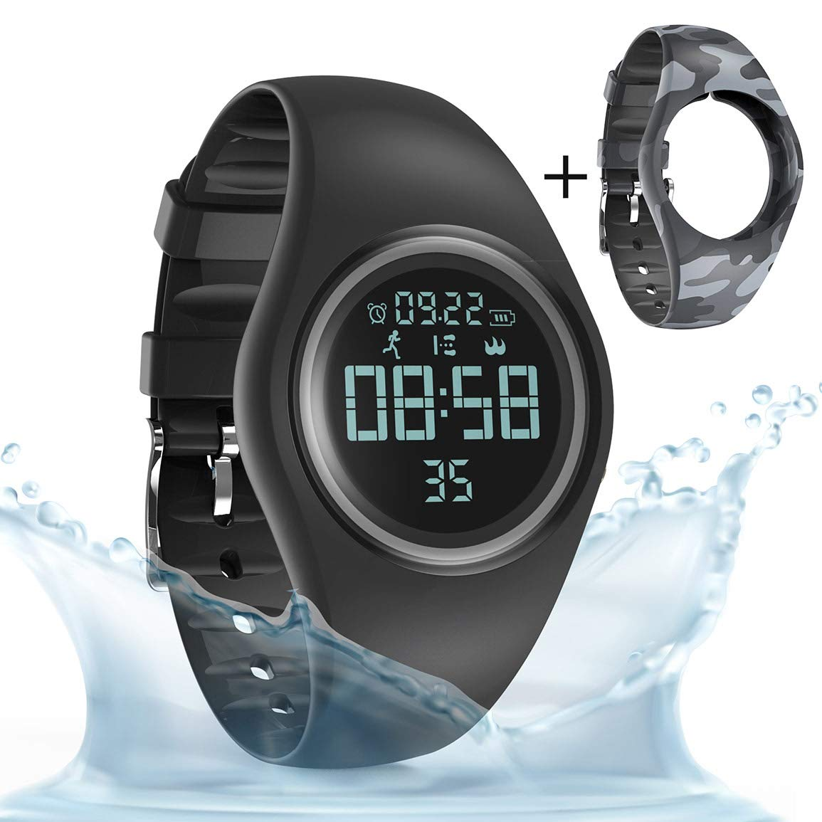 synwee Sports Fitness Tracker Watch,IP68 Waterproof, Non-Bluetooth, with Pedometer/Vibration Alarm Clock/Timer, for Kid Children Teen Boys Girls (Black) ¡ by synwee