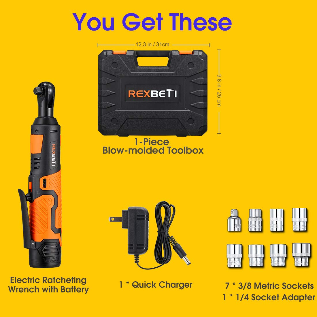 REXBETI Cordless 3/8'' Electric Ratchet Wrench Set with 12V Lithium-Ion Battery and Charger Kit, Include 7-piece 3/8'' Metric Sockets and 1-piece 1/4'' Socket Adapter, 45Nm of Maximum Torque by REXBETI (Image #7)