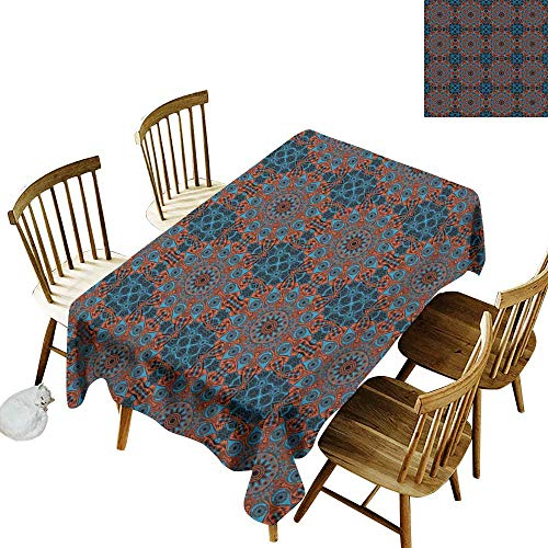 Restaurant Tablecloth Mandala Ornate Lace Chinese Pattern Circles Swirls and Dots Flower Illustration W54 xL90 for Family Dinners,Parties,Everyday Use ()