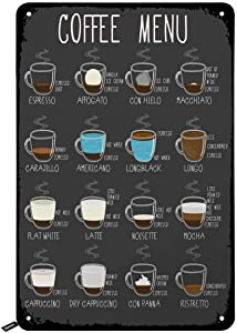 Swono Coffee Menu Tin Signs,Kinds of Coffee Service Here Vintage Metal Tin Sign for Men Women,Wall Decor for Bars,Restaurants,Cafes Pubs,12x8 Inch
