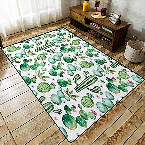 (Hallway Rug,Green,Mexican Texas Cactus Plants Spikes Cartoon Like Artistic Print,Rustic Home Decor,4'11