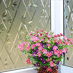 OstepDecor Bamboo Fence No-Glue 3D Static Decorative Privacy Window Films, 3Ft X 6.5Ft. (90 x 200cm)