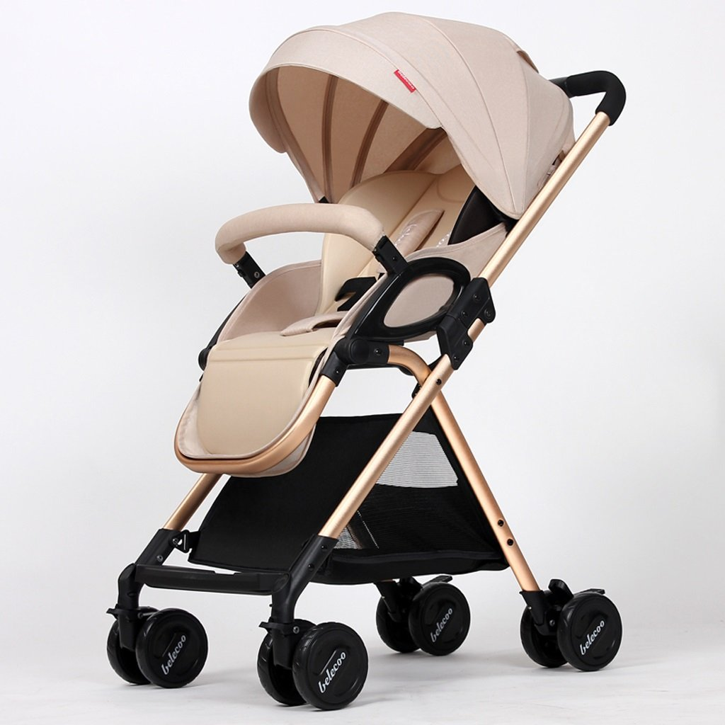 赤ちゃんのベビーカーは、背の高いパラソルに座っているトップビュー折りたたみベビーカー(カーキ)(ブルー)(グレー)(ピンク)50 * 85 * 101cm ( Color : Khaki ) B07BTWSTMW