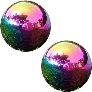 YeahaWo Rainbow Gazing Globe Mirror Ball, Home Shiny Stainless Steel Gazing Balls for Gardens Yard Ponds, Pack of 2 (4 Inch)