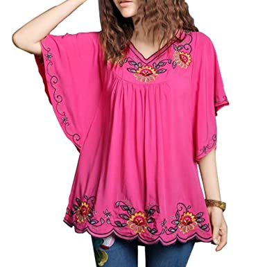 Ashir Aley New Floral Embroidered Butterfly Sleeve Wrap Ruffled Peasant  Tops Blouse(S 5355dcaa01060