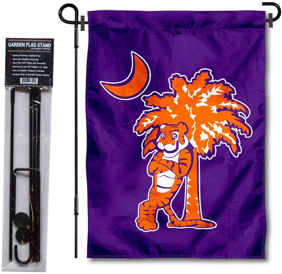 Clemson Tiger and Palmetto Garden Banner and Flag Stand Pole Holder Set