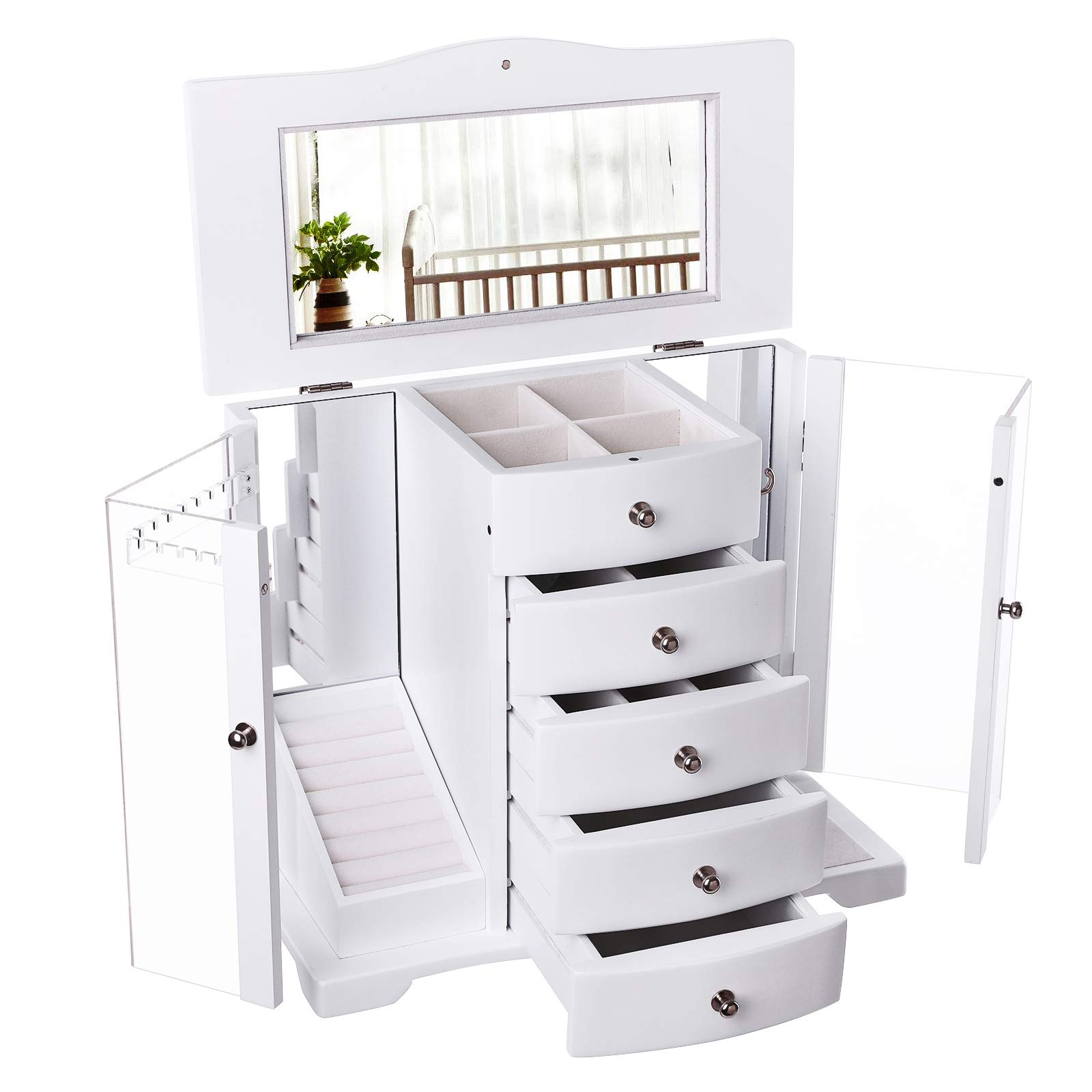 SONGMICS Wooden Jewelry Box Large Organizer with Clear Acrylic Doors and 4 Drawers, White UJOW57W by SONGMICS