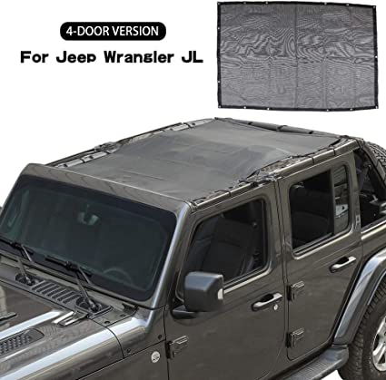 Mesh Sun Shade Protection Soft Top Cover For 2018 2019 Jeep Wrangler JL 4 Doors