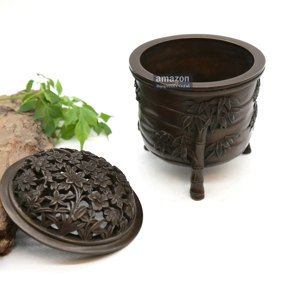 YONG HE XUAN Hand-Made Brass Incense Burner (Pine, Bamboo and Plum Blossom) Contain Incense Holder Net Weight: 1159g (Approx.) Chinese Classical Style Traditional Technology by YONG HE XUAN (Image #3)