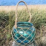Whole House Worlds The Mariners Lobster Pot Netted Hurricane Candle Lantern, Globe Shape, Pale Aqua Marine, Jute, Rope Handles, Glass, 6 Inches Diameter, 5 Inches Tall, By