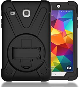 TIMISAM Samsung Galaxy Tab E 8.0 Case, Heavy Duty Hybrid Shockproof Protection Cover Built with Kickstand and Hand Strapfor Samsung Galaxy Tab E 32GB SM-T378/Tab E 8.0 Inch SM-377 Tablet (Black)