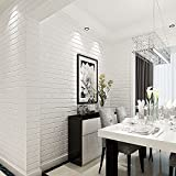 "HaokHome 03 Vinyl Faux White Brick Wallpaper for Living room WallPaper walls 20.8"" x 393.7"""