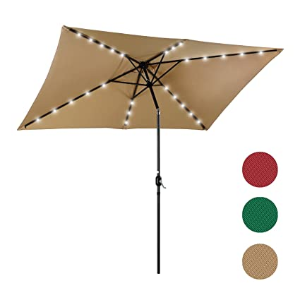 Charming PHI VILLA 10 X 6.5 FT Rectangular Patio Umbrella With LED Lights USB  Charger And Built