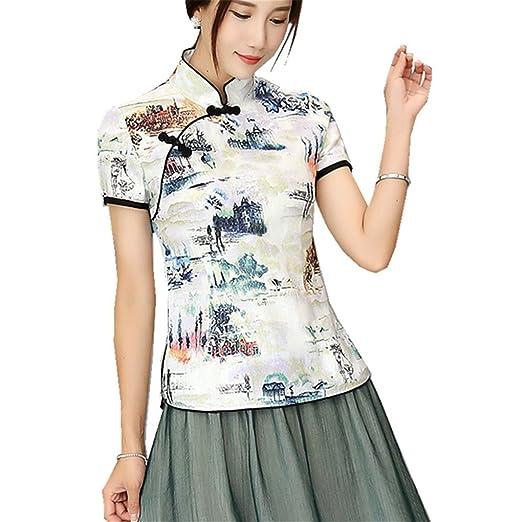 Amazon Shanghai Story Cheongsam Style Shirt Short Sleeve Tang