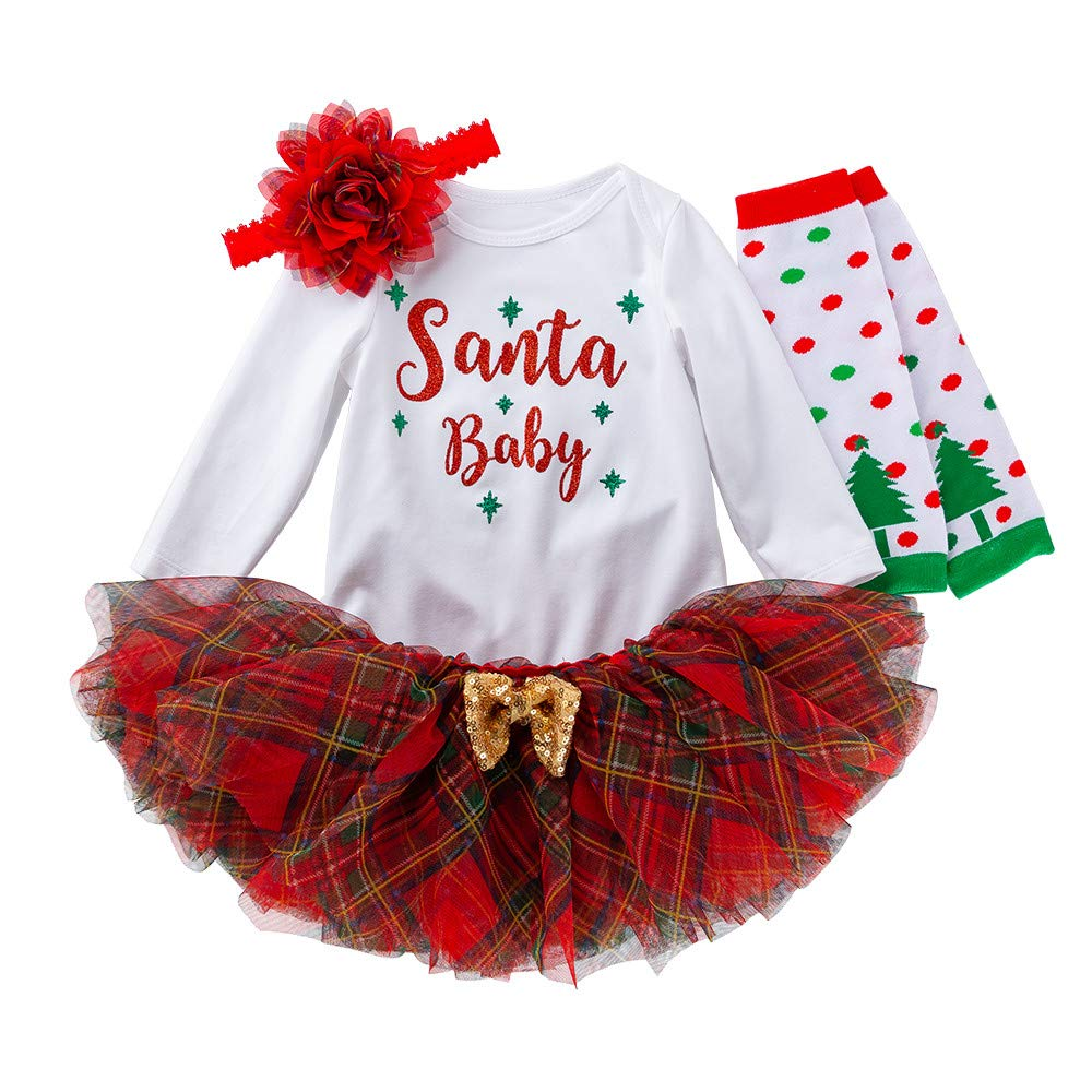 (12-24 Months) Toddler Baby Kid Girl Christmas Long Sleeves Romper Tops+Cute Tutu Dress Skirt+Hairband Set, Red and White by QQ1980s