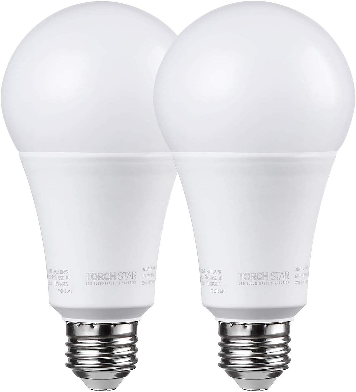 TORCHSTAR Dimmable A21 LED Light Bulb, 17W (100W Equivalent), 1600lm, 5000K Daylight, CRI 90+, UL & Energy Star Listed, E26 Base for Desk Lamp, Floor Lamp, Ceiling Fan, 3 Year Warranty, Pack of 2