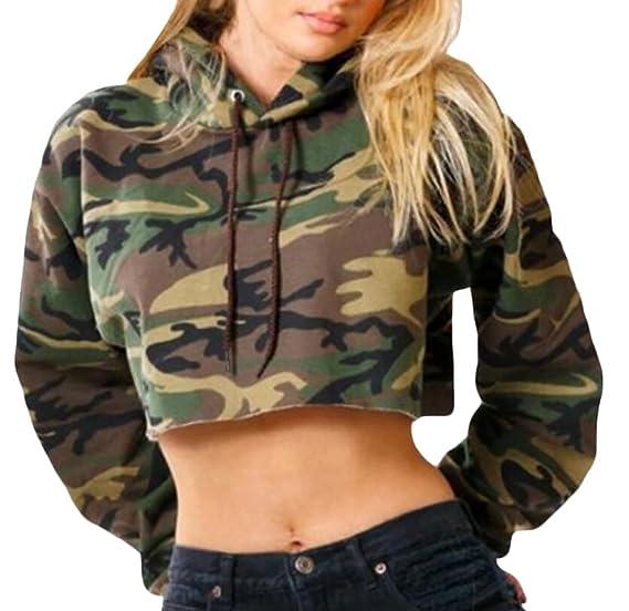 63d01d10d64 Keaac Women's Camouflage Print Drawstring Crop Top Sweatshirt Army Green XS
