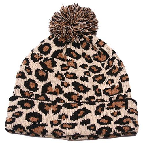 Winter Leopard Print Cuffed Beanie w/ Pom - Camel (Beanie Winter Print)