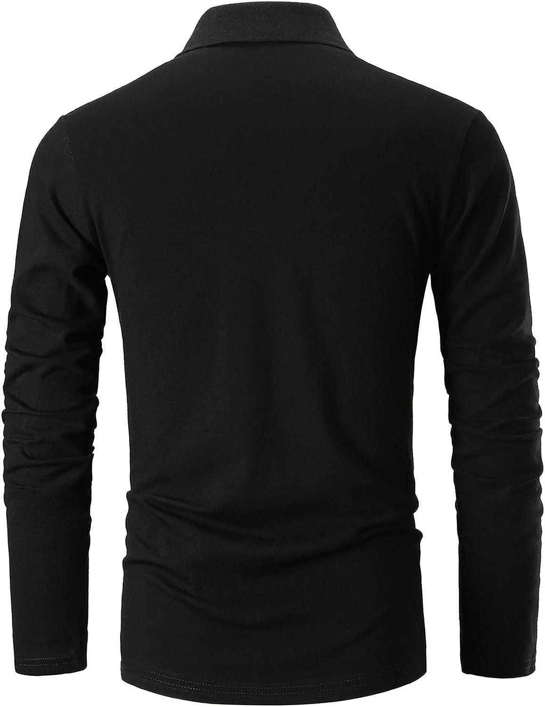 YCUEUST Polo Manga Larga Hombre Algod/ón Bordado de Ciervo Poloshirt Camisas