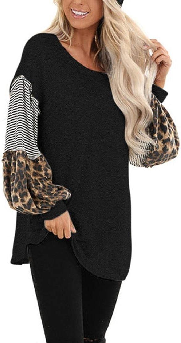 Women Casual T Shirts Leopard Print Patchwork Tops Loose Crewneck Long Sleeve Raglan Pullovers Shirts Blouses Sopzxclim